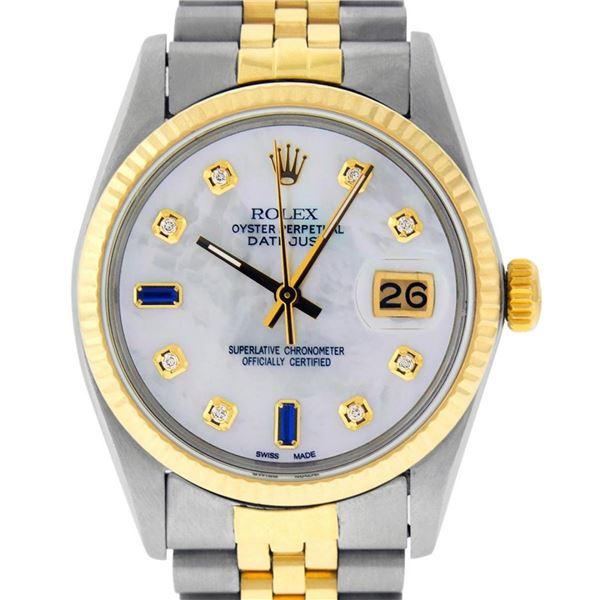 Rolex Mens 2 Tone MOP Diamond 36MM Oyster Perpetual Datejust Wristwatch