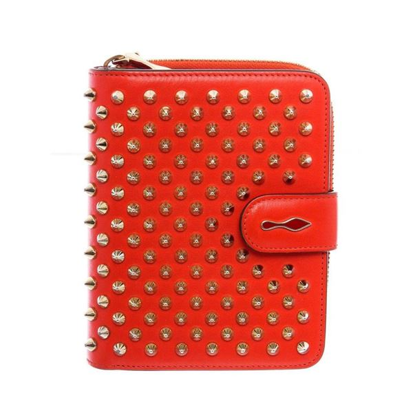 Christian Louboutin Red Leather Panettone Coin Purse Wallet
