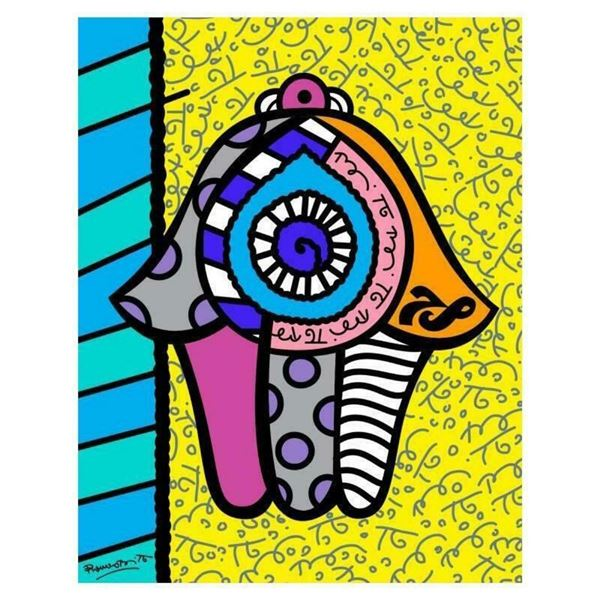 """Romero Britto """"Hamsa Yellow Down"""" Hand Signed Giclee on Canvas; Authenticated"""