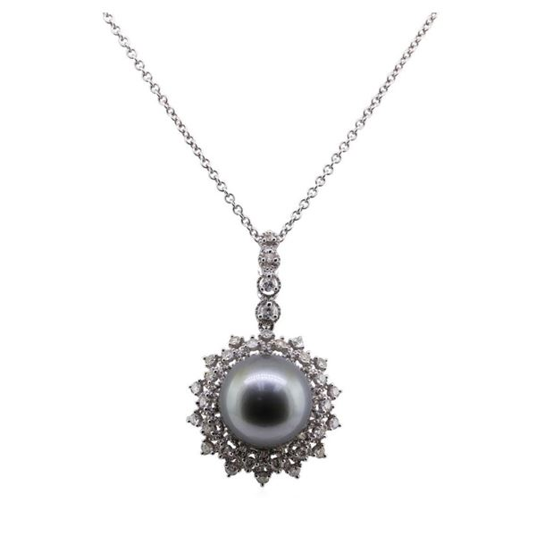 Pearl and Diamond Pendant With Chain - 18KT White Gold