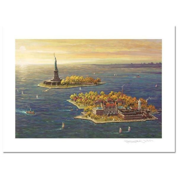 """""""Ellis Island, Fall"""" Limited Edition Mixed Media by Alexander Chen, Numbered and"""