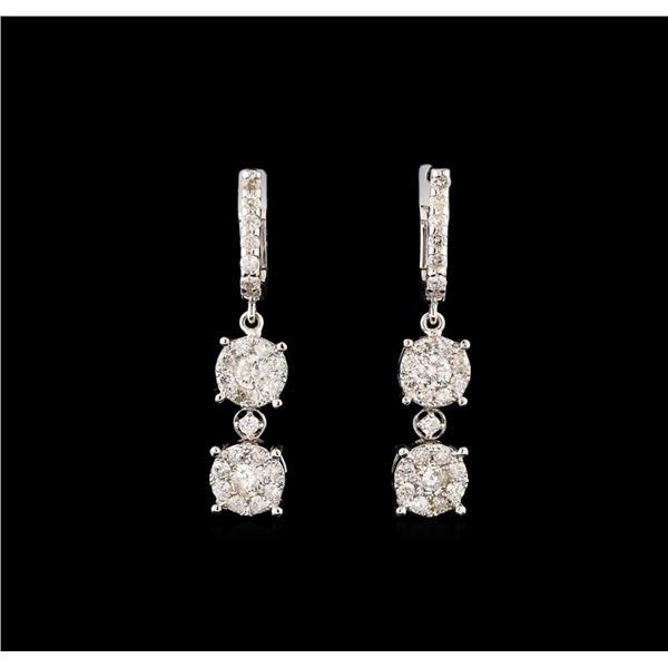 14KT White Gold 1.19 ctw Diamond Earrings