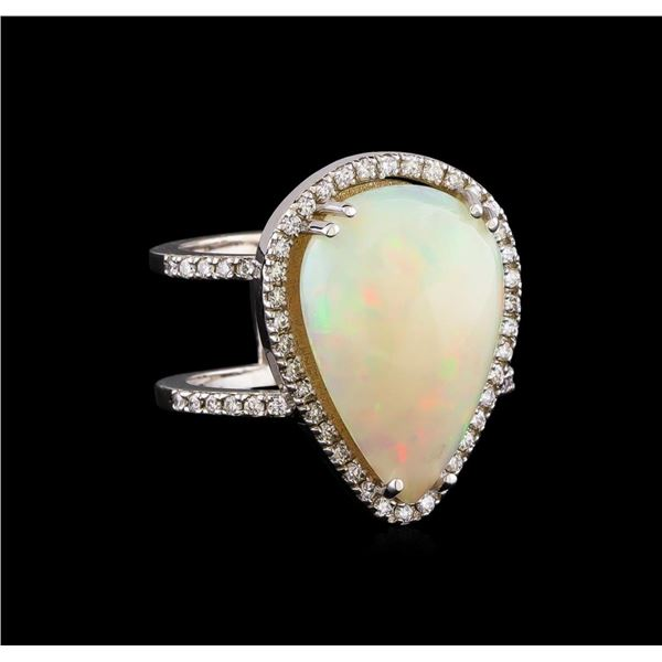 9.70 ctw Opal and Diamond Ring - 14KT White Gold