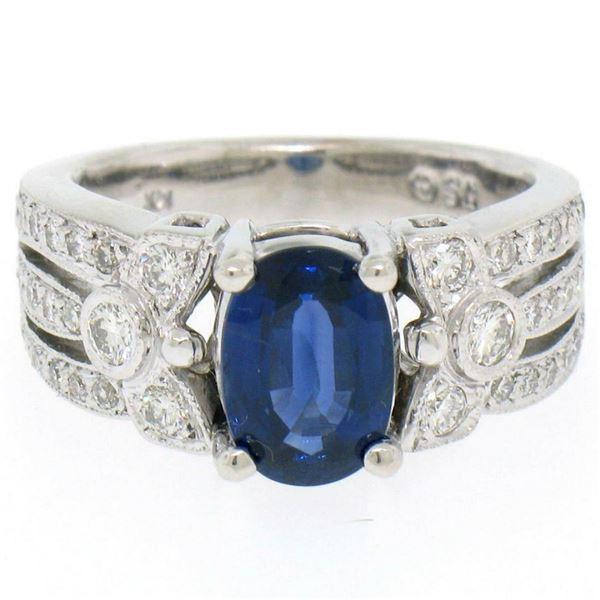 EGL 14k White Gold 2.78 Ctw Royal Blue Sapphire and Diamond Engagement Cocktail