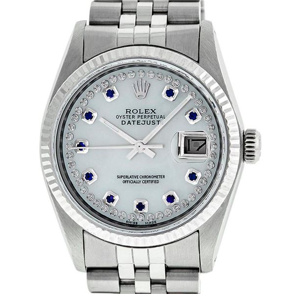 Rolex Mens Stainless Steel Mother Of Pearl Diamond & Sapphire Datejust Wristwatc