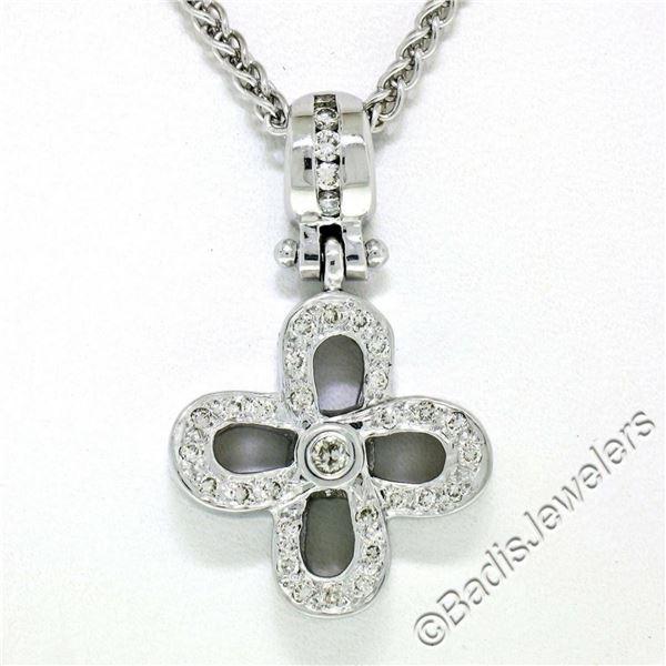 14kt White Gold 0.44 ctw Diamond Open Flower Pendant Necklace