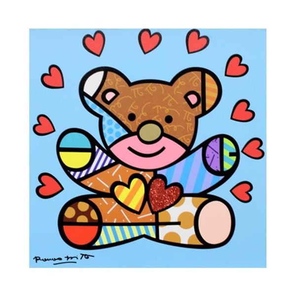 """Romero Britto """"Happy Boy"""" Hand Signed Limited Edition Giclee on Canvas; Authenti"""