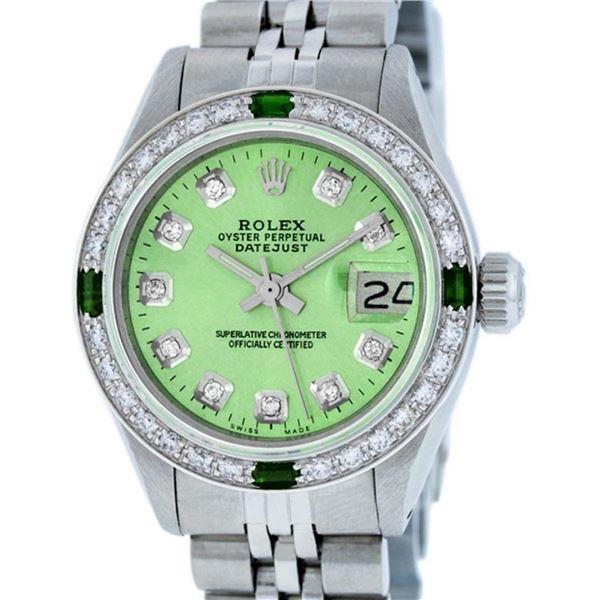 Rolex Ladies Stainless Steel Green Diamond & Emerald Datejust 26MM Wristwatch