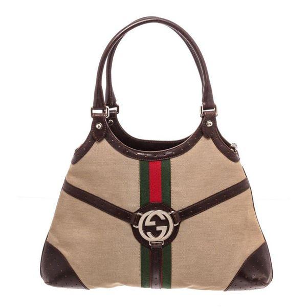 Gucci Beige Canvas Brown Leather Interlocking Shoulder Bag