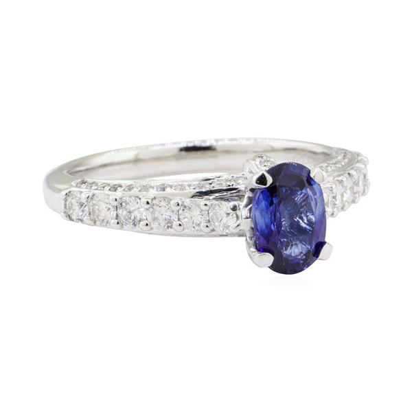 1.71 ctw Colored Stone and Diamond Ring - 18KT White Gold