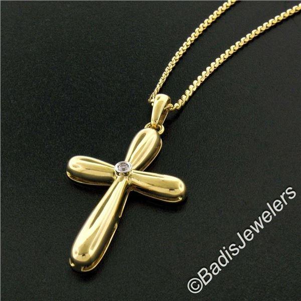 Italian 18kt Yellow Gold Round Diamond Polished Cross Pendant Necklace