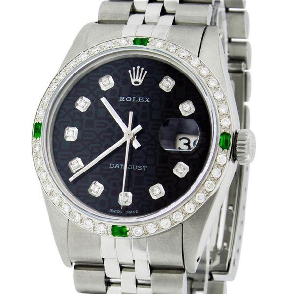 Rolex Mens Stainless Steel Black Diamond & Emerald Datejust Wristwatch 36MM