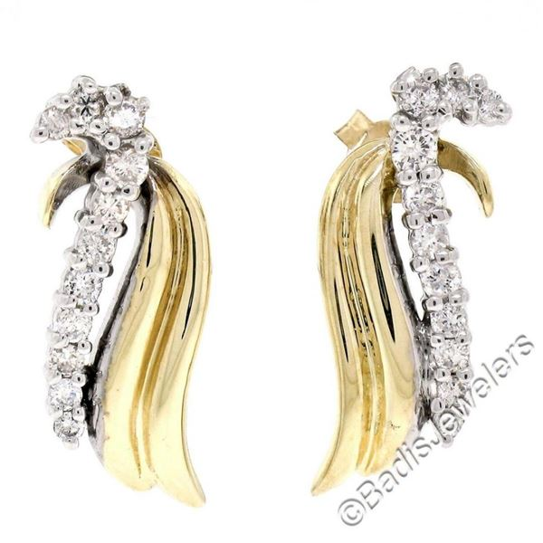 14kt White and Yellow Gold 0.60 ctw Round Diamond Wing Flame Drop Earrings