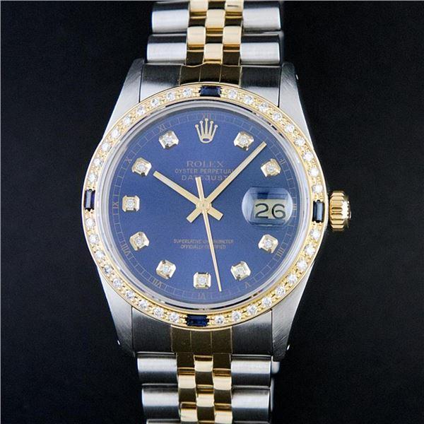 Rolex Mens 2 Tone Blue Diamond & Sapphire Oyster Perpetual Datejust Wriswatch 36