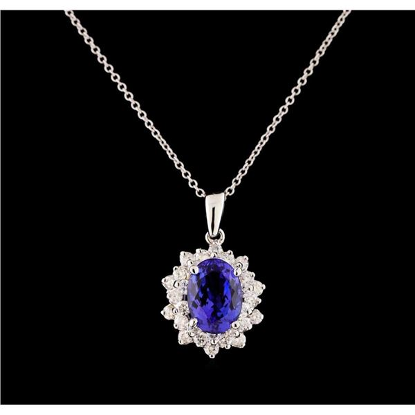 3.40 ctw Tanzanite and Diamond Pendant With Chain - 14KT White Gold