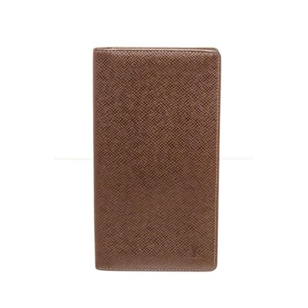 Louis Vuitton Brown Taiga Leather Checkbook Cover Wallet