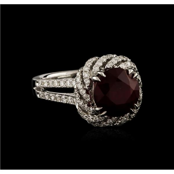 14KT White Gold 4.05 ctw Ruby and Diamond Ring
