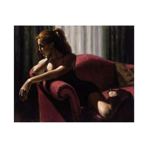 """Fabian Perez, """"Rojo Sillon III"""" Hand Textured Limited Edition Giclee on Board. H"""