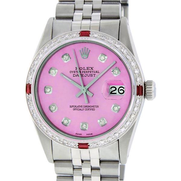 Rolex Mens Stainless Steel Pink Diamond & Ruby 36MM Datejust Wristwatch