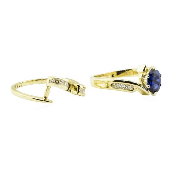 1.50 ctw Blue Sapphire and Diamond Ring Set - 14KT Yellow Gold