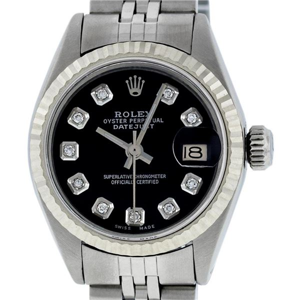 Rolex Ladies Stainless Steel Black Diamond 26MM Oyster Perpetual Datejust