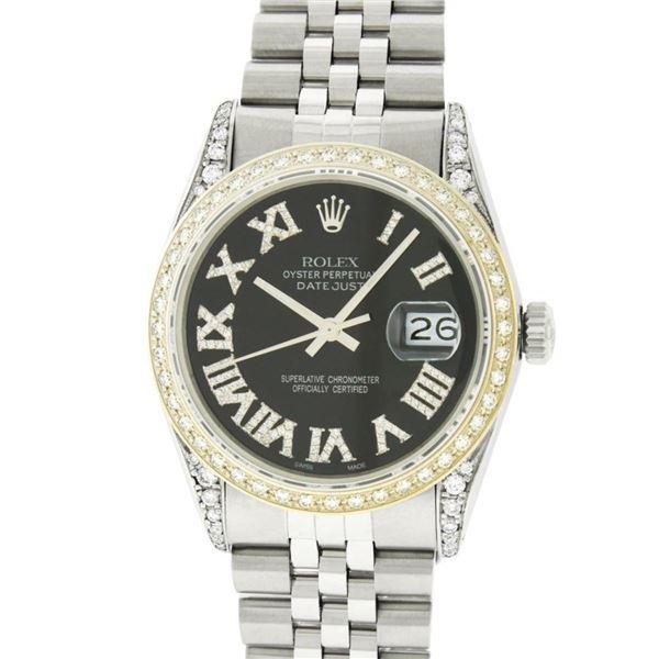 Rolex Mens Stainless Steel Black Roman Diamond Lugs Datejust Wristwatch 36MM