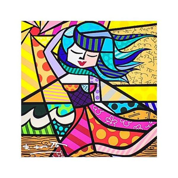 """Romero Britto """"New Summer"""" Hand Signed Giclee on Canvas; Authenticated"""