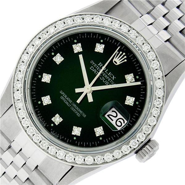 Rolex Mens Stainless Steel Slate Green Diamond 1.40CTW Bezel 36MM Datejust Wrist