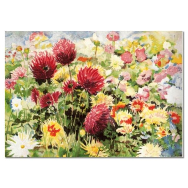 """Perla Fox, """"Dahlias"""" Hand Signed Limited Edition Serigraph with Letter of Authen"""