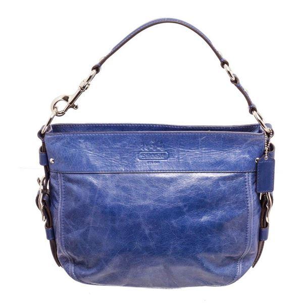 Coach Blue Leather Zoe Hobo Bag