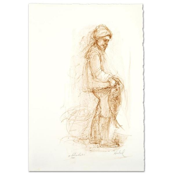 """""""Fisherman"""" Limited Edition Lithograph by Edna Hibel (1917-2014), Numbered and H"""