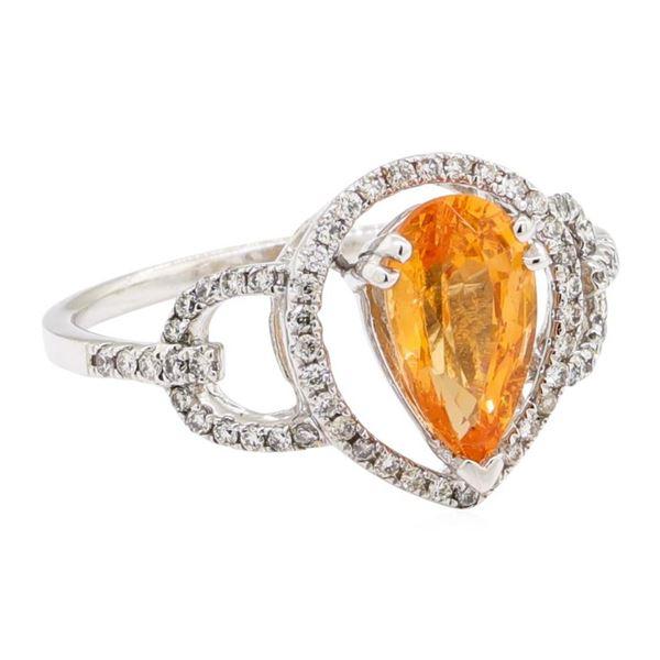 1.97 ctw Pear Mixed Spessartite Garnet And Round Brilliant Cut Diamond Ring - 14