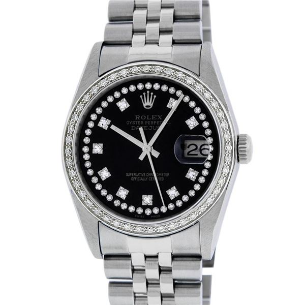 Rolex Mens Stainless Steel Black String Diamond 36MM Oyster Perpetual Datejust