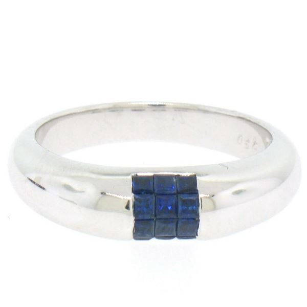 18k White Gold 0.65 ctw Invisible Set Royal Blue Princess Sapphire Band Ring