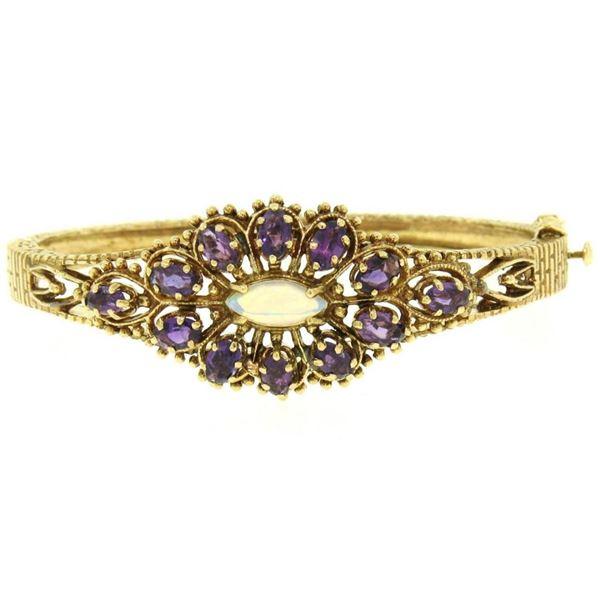 Vintage 14K Yellow Gold 3.75 ctw Amethyst & Opal Textured Open Bangle Bracelet