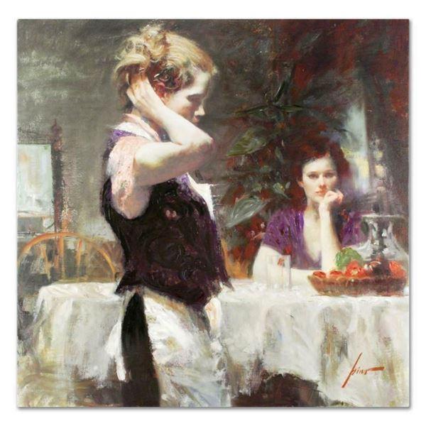 "Pino (1939-2010), ""Wistful Thinking"" Artist Embellished Limited Edition on Canva"