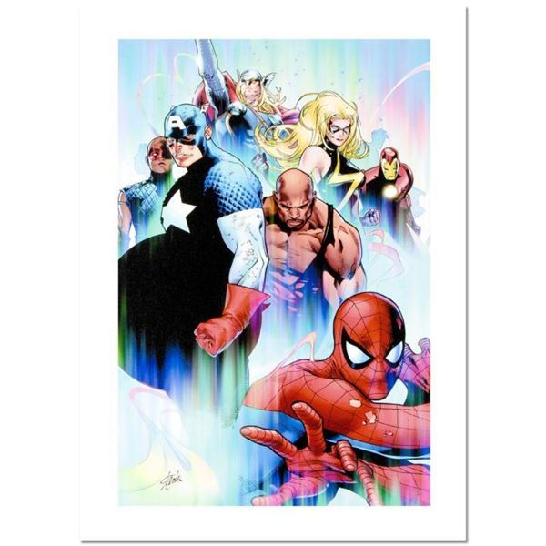 """Stan Lee Signed, """"Siege #4"""" Numbered Marvel Comics Limited Edition Canvas by Oli"""