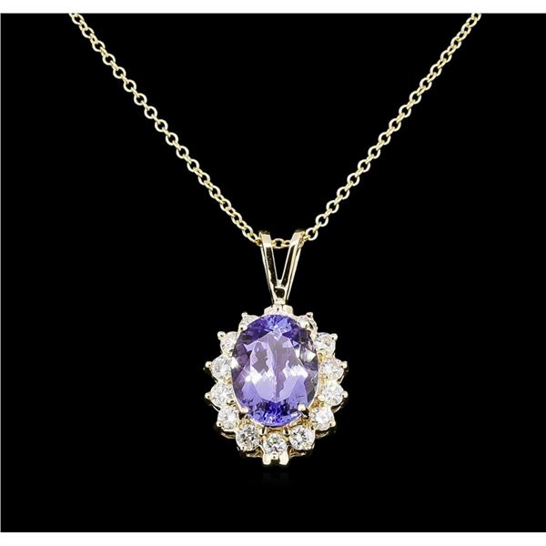 3.88 ctw Tanzanite and Diamond Pendant With Chain - 14KT Yellow Gold