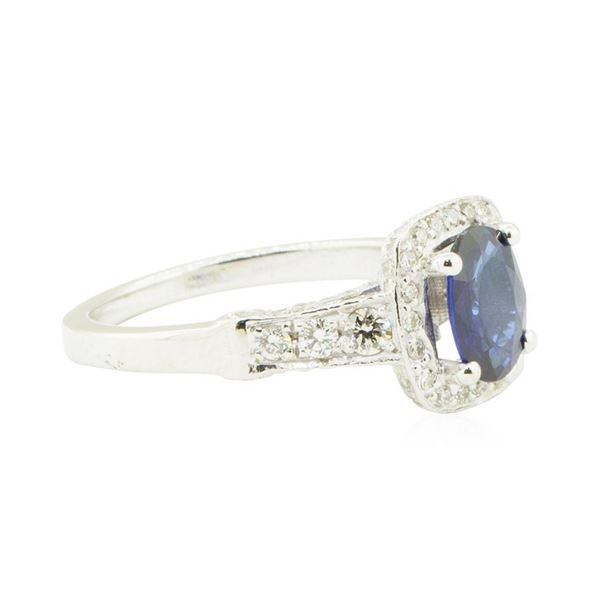 1.90 ctw Oval Brilliant Blue Sapphire And Diamond Ring - 14KT White Gold