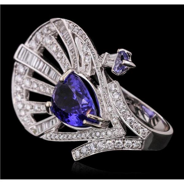 18KT White Gold 6.20 ctw Tanzanite and Diamond Ring