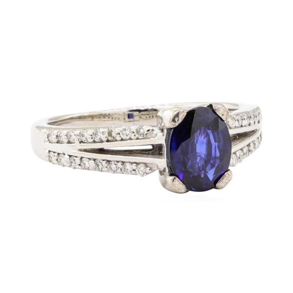 1.61 ctw Blue Sapphire And Diamond Ring - 14KT White Gold