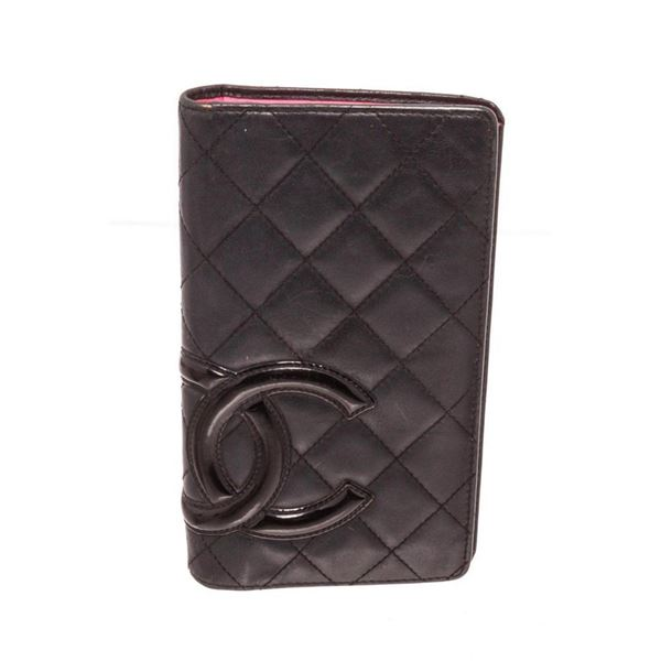 Chanel Black Leather Long Card Wallet