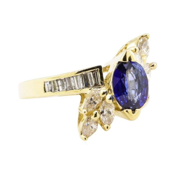 2.34 ctw Blue Sapphire And Diamond Ring - 14KT Yellow Gold