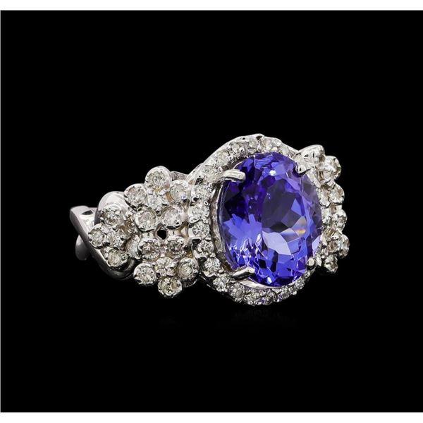 14KT White Gold 4.31 ctw Tanzanite and Diamond Ring