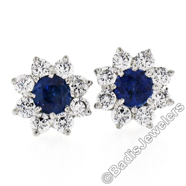 Sterling Silver Blue Crystal & CZ Halo Stud Earrings w/ 14kt White Gold Posts