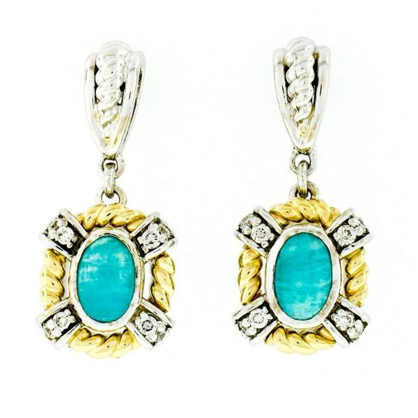 14kt Two Tone Gold Oval Amazonite & 0.16 ctw Diamond Drop Dangle Earrings