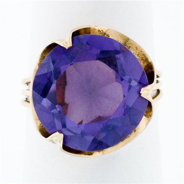 Retro Vintage Handmade 14k Rose Gold 13.7mm Synthetic Alexandrite Solitaire Ring