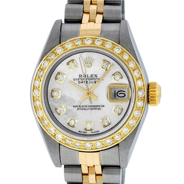 Rolex Ladies Quickset 2 Tone Mother Of Pearl Diamond Oyster Perpetual Datejust W