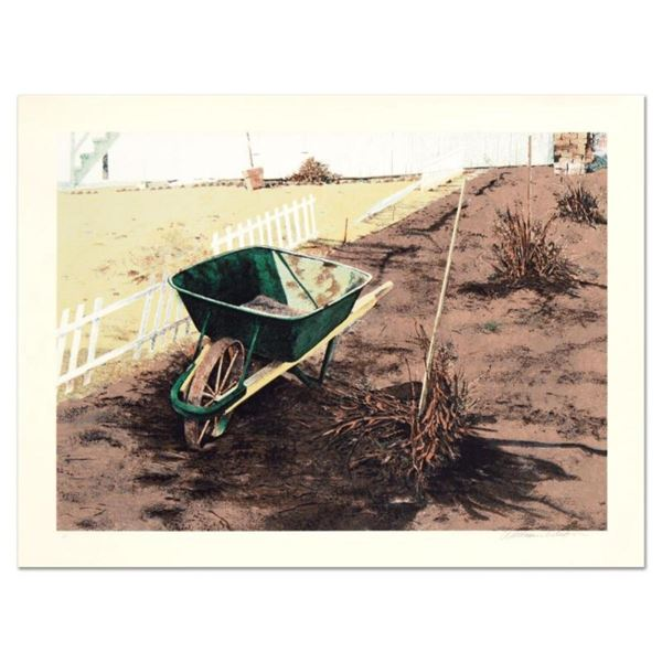 """William Nelson, """"The Wheelbarrow"""" Limited Edition Lithograph, Numbered and Hand"""