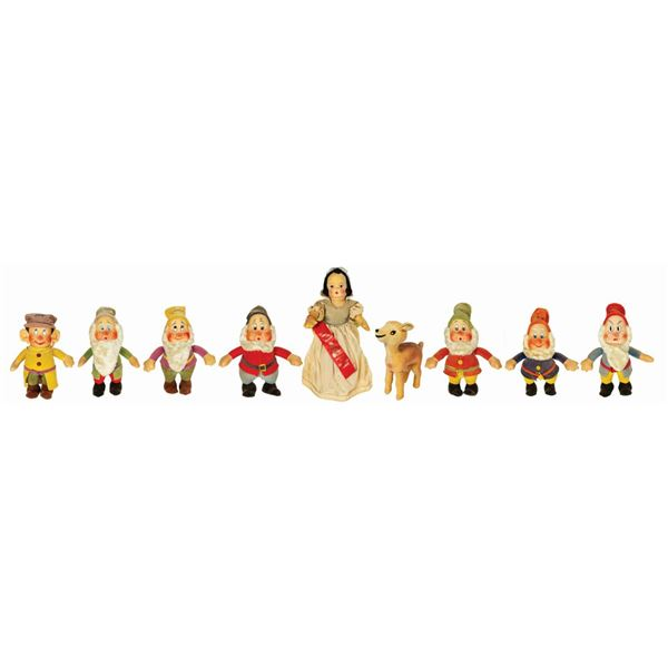 Set of (9) Krueger Snow White & the Seven Dwarfs Dolls.